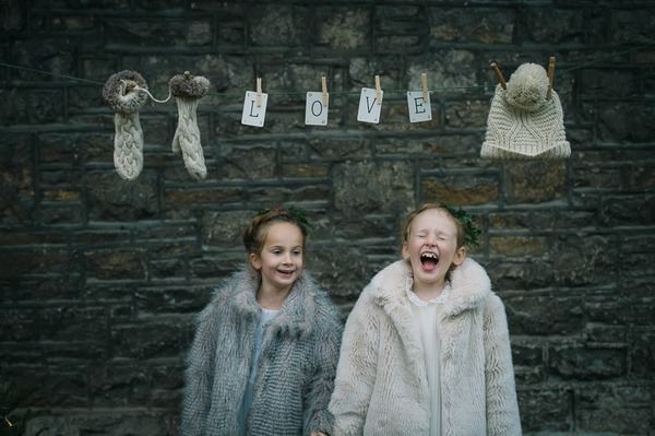Flower girls laughing
