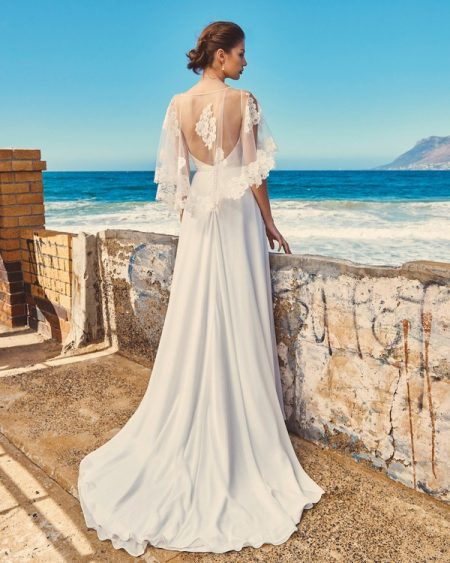 Back of B2017 Linda Bodice, C7717 Lily Cape and SK7617 Shelby Skirt - Elbeth Gillis Milk and Honey 2017 Bridal Collection