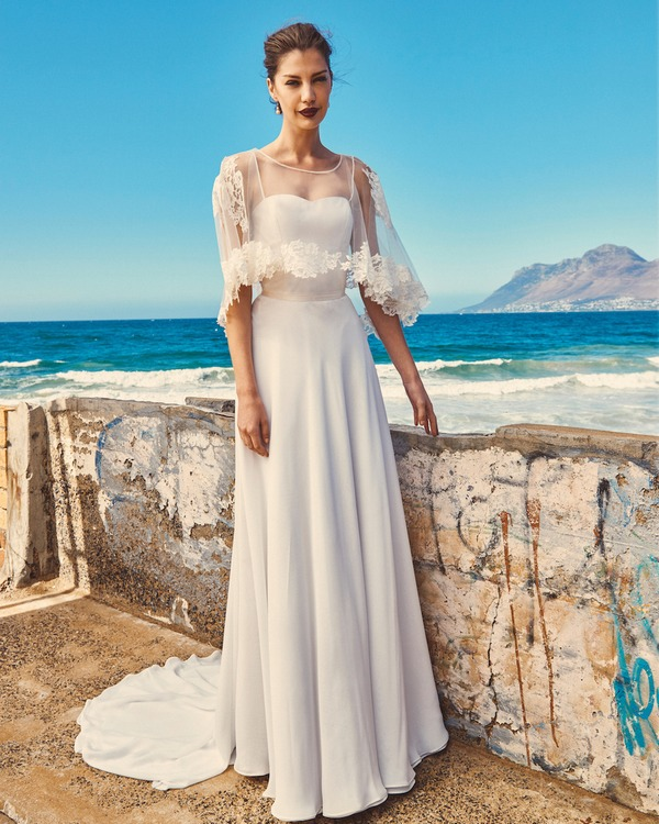 B2017 Linda Bodice, C7717 Lily Cape and SK7617 Shelby Skirt - Elbeth Gillis Milk and Honey 2017 Bridal Collection