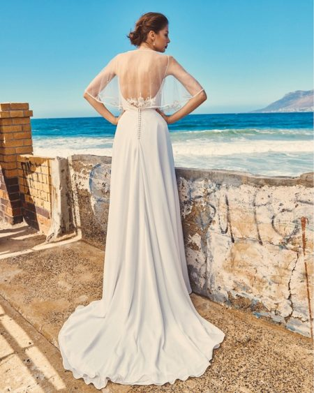 Back of B2017 Linda Bodice, C7817 Marina Cape and SK7617 Shelby Skirt - Elbeth Gillis Milk and Honey 2017 Bridal Collection