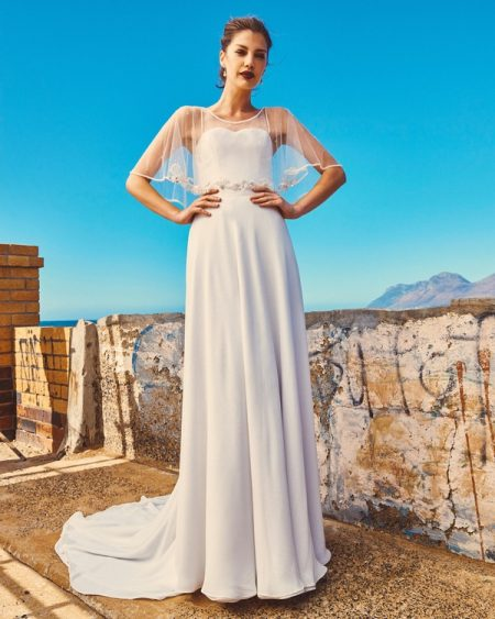 B2017 Linda Bodice, C7817 Marina Cape and SK7617 Shelby Skirt - Elbeth Gillis Milk and Honey 2017 Bridal Collection