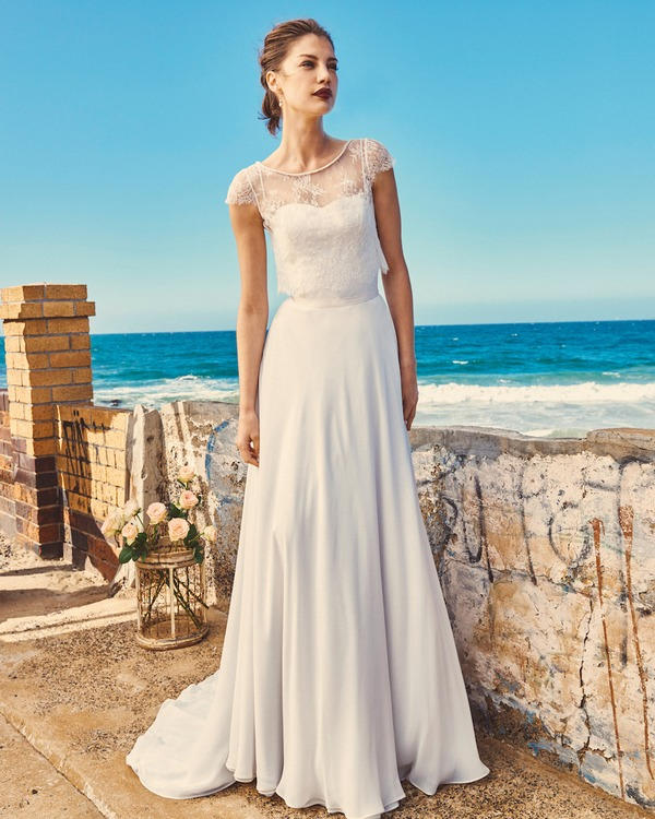 B2017 Linda Bodice, SK7617 Shelby Skirt and T0517 Michelle Crop Top - Elbeth Gillis Milk and Honey 2017 Bridal Collection