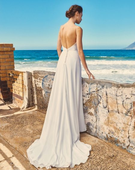 Back of B2017 Linda Bodice and SK7617 Shelby Skirt - Elbeth Gillis Milk and Honey 2017 Bridal Collection