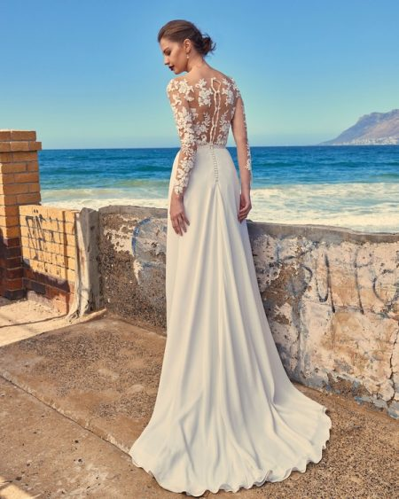 Back of T3017 Tara Illusion Top and SK7617 Shelby Skirt - Elbeth Gillis Milk and Honey 2017 Bridal Collection