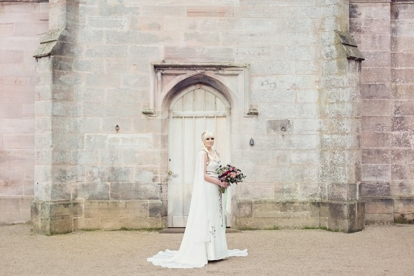 Bride standing outside Lowther Castle