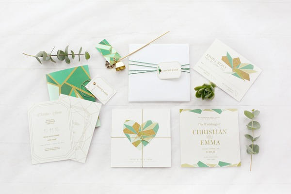 Green and Gold geometric wedding stationery