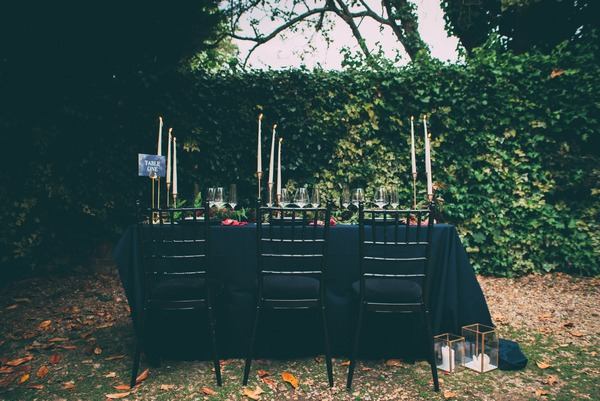 Wedding table with dark styling
