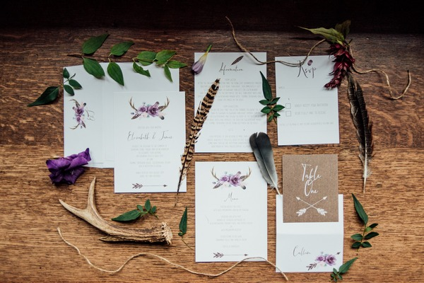 Feather and foraging wedding stationery