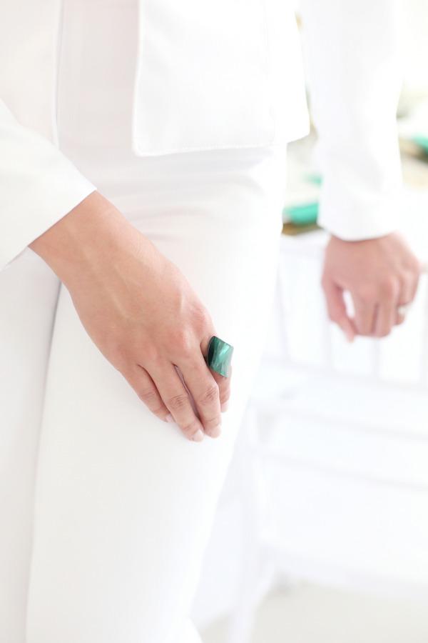 Bride wearing green ring