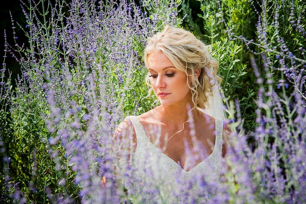 Bride surrounded by lavender - Picture by Pauls Studio