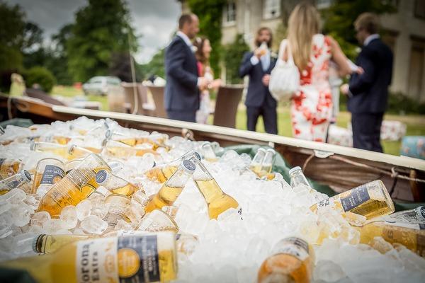 Bottles of Corona in ice bucket