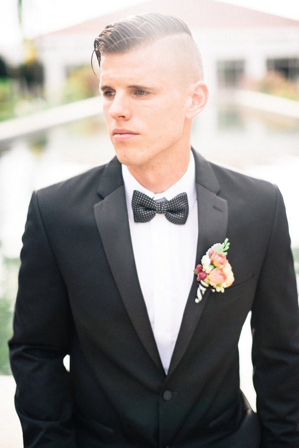 Groom wearing bow tie
