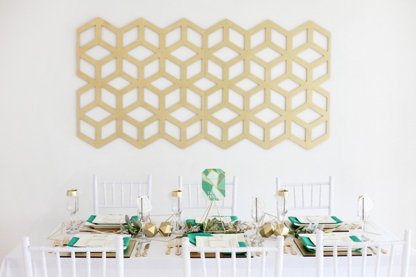 Geometric backdrop to wedding table