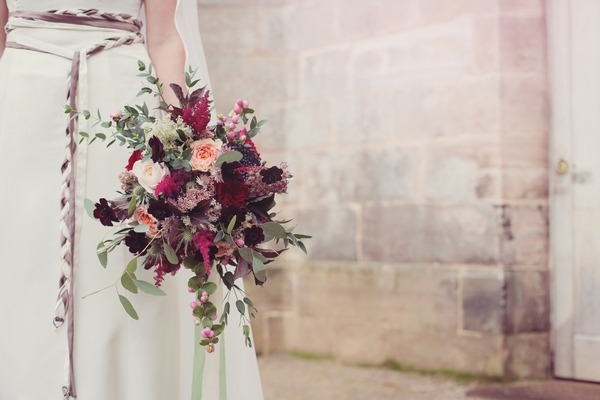 Red and purple winter bridal bouquet