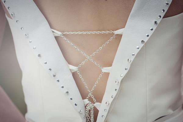 Detail of wedding dress fastening
