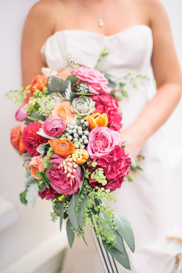 Bright colourful wedding bouquet