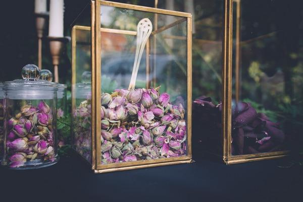 Geometric vase of confetti petals