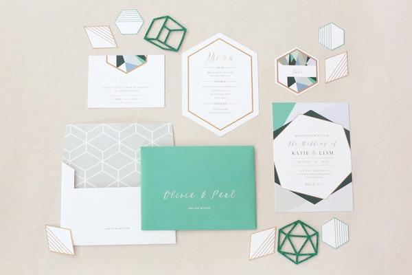 Teal geometric wedding stationery