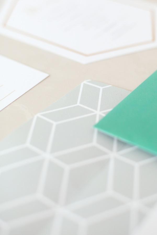 Detail on geometric wedding stationery