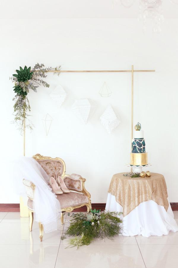 Chair and wedding cake table