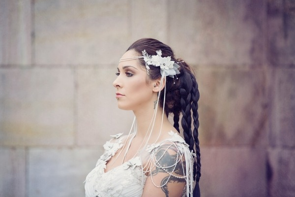 Bride with braided bridal hairstyle