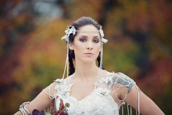 Bride wearing beaded bridal accessories