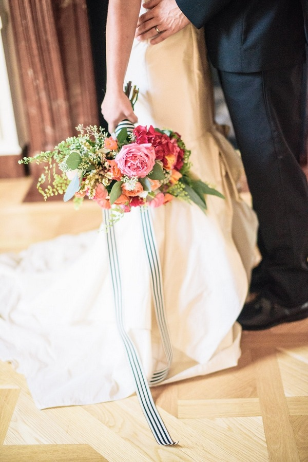 Bridal bouquet with striped ribbon