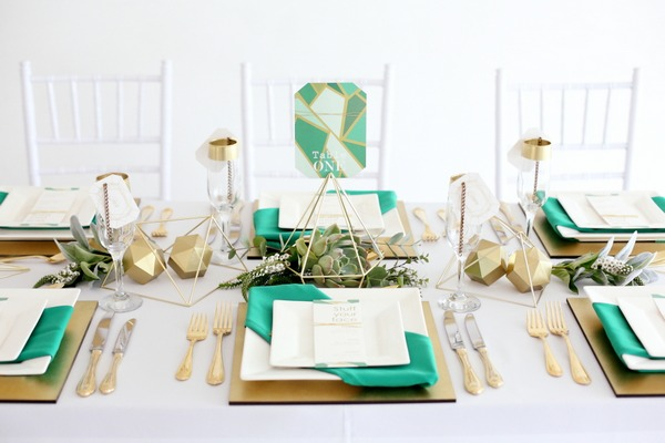 Green and gold geometric wedding table styling