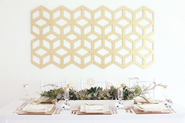 Wedding table with geometric backdrop