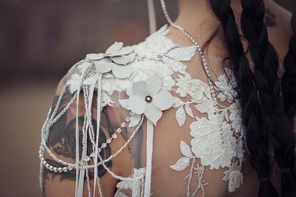 Flower detail on wedding dress