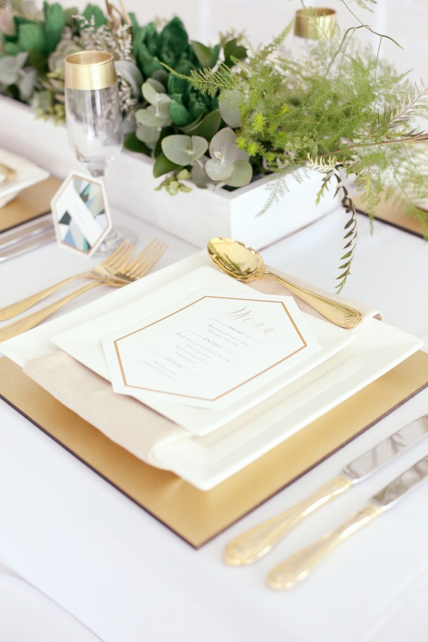 Gold styled wedding place setting