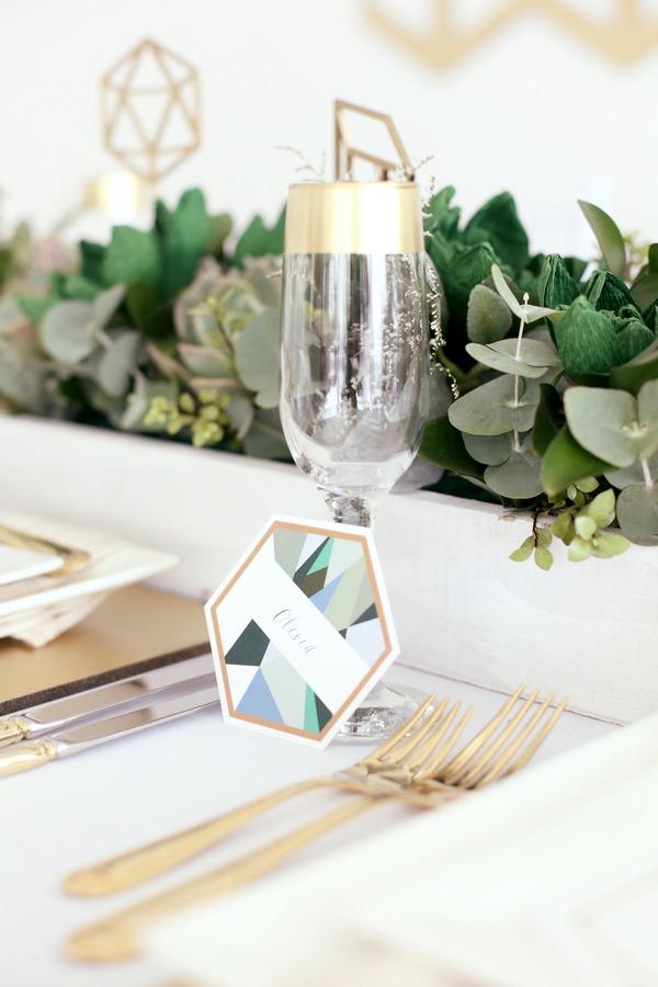 Geometric wedding place name card