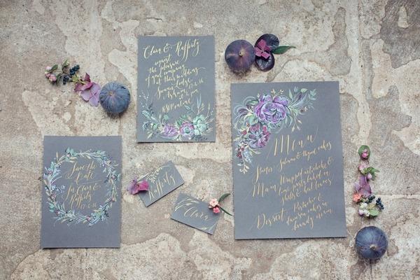 Slate coloured wedding stationery
