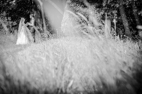 Picture of bride and groom taken through long grass