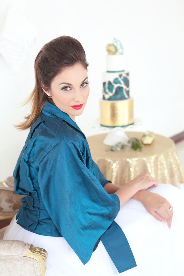 Bride wearing blue top