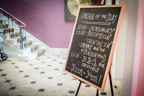 Sparkford Hall wedding order of the day