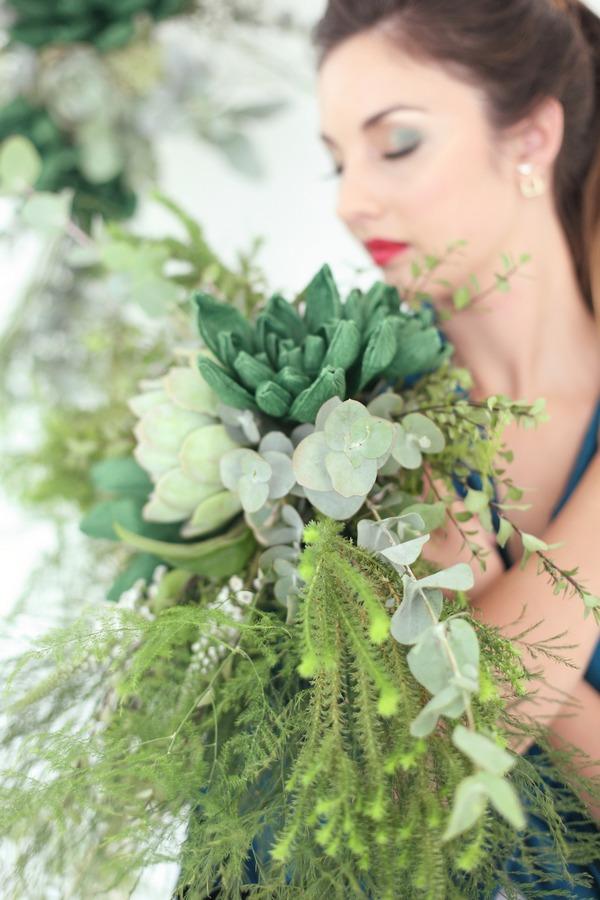 Succulents and foliage bridal bouquet