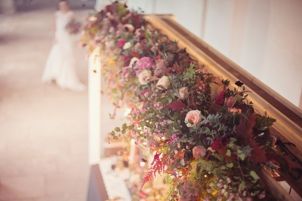 Floral styling above wedding table