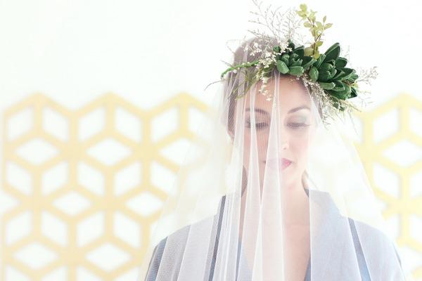 Veil over bride's face