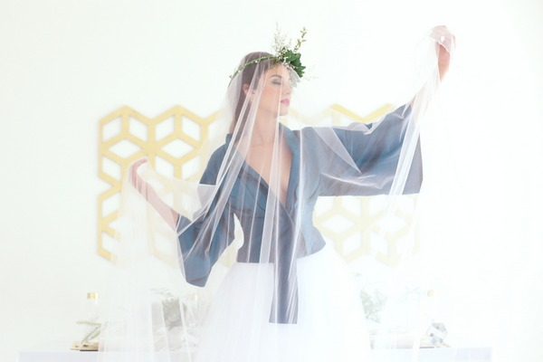 Bride under long veil
