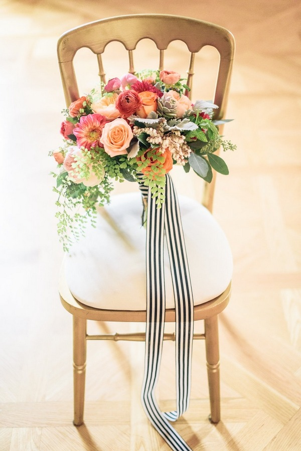 Bright wedding bouquet on chair