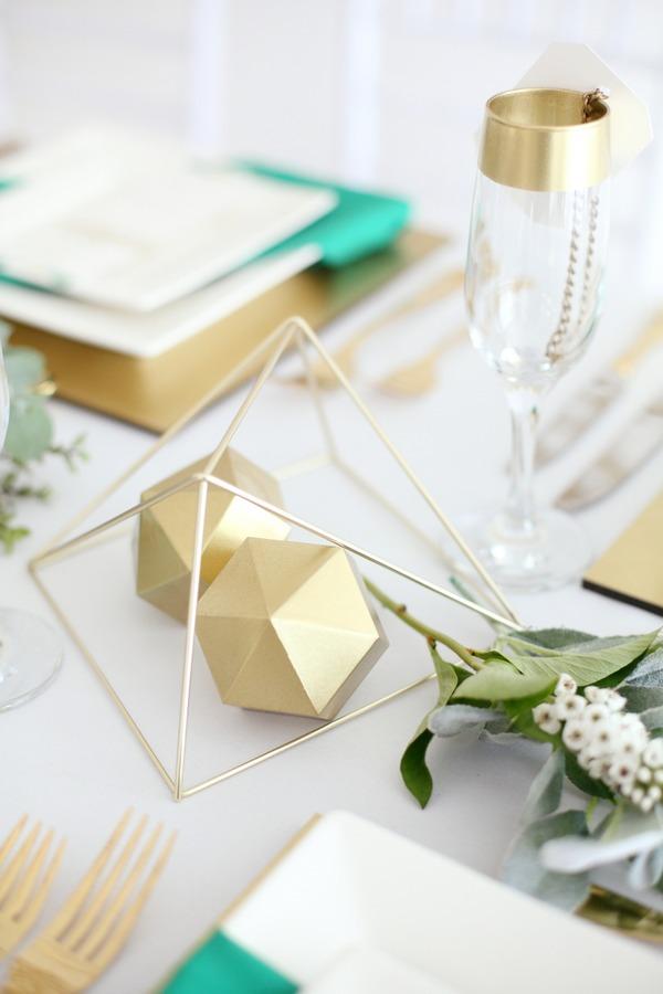 Geometric wedding table decor