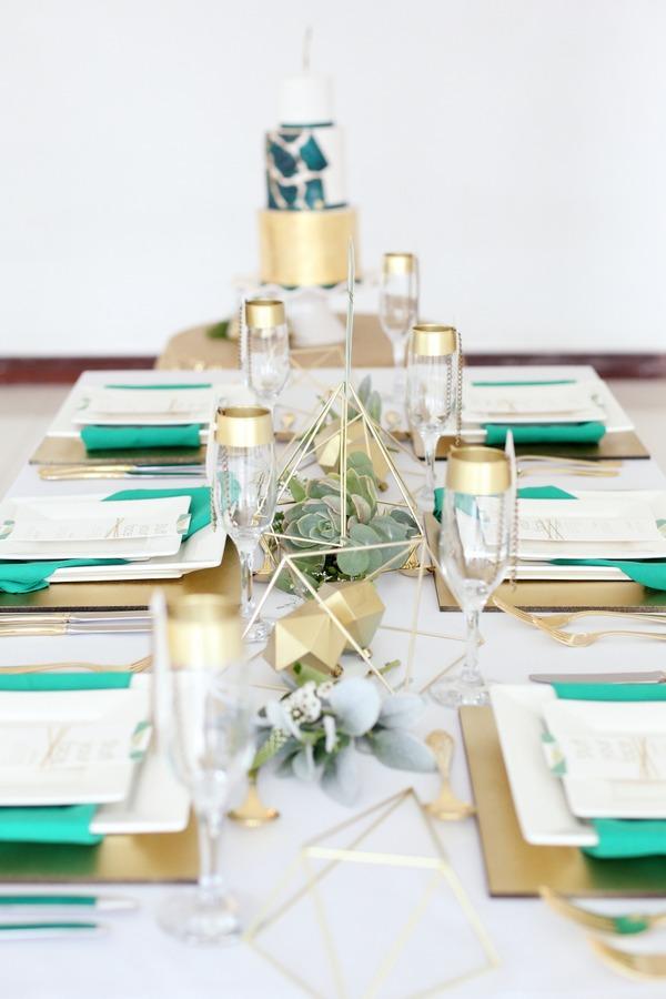 Geometric wedding table centrepiece
