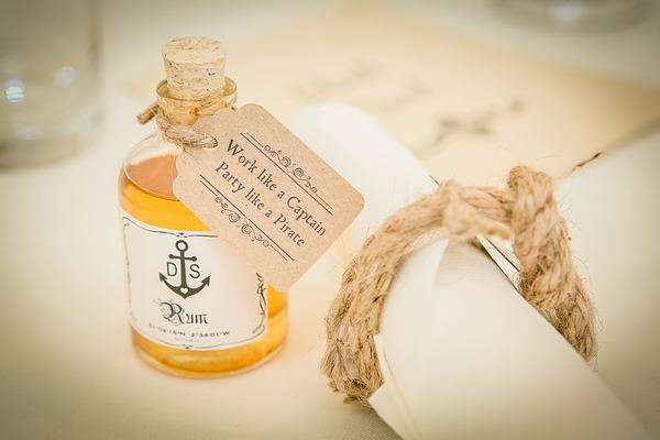 Rum wedding favour