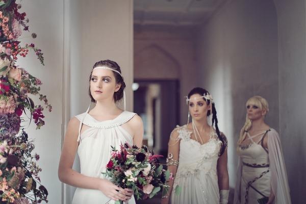 Brides by window
