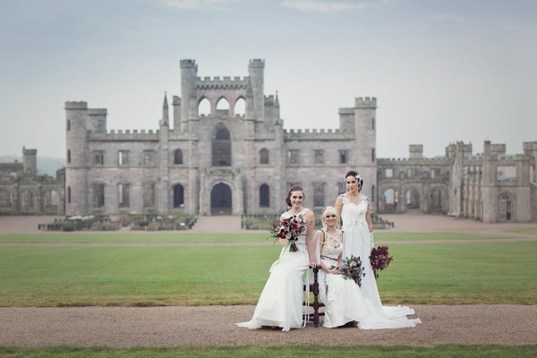 Brides in front of Lowther Castle
