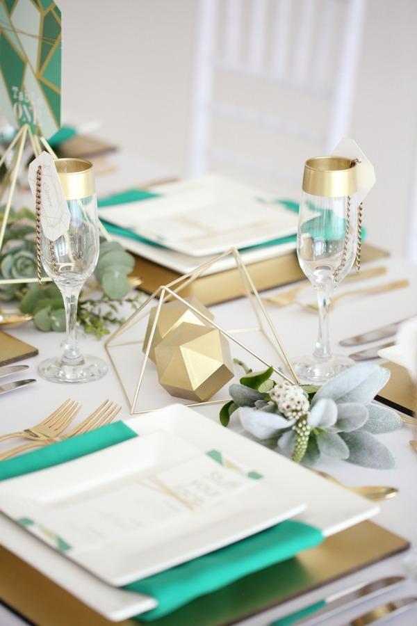 Geometric wedding table styling