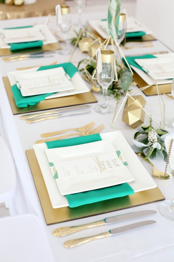 Row of wedding place settings