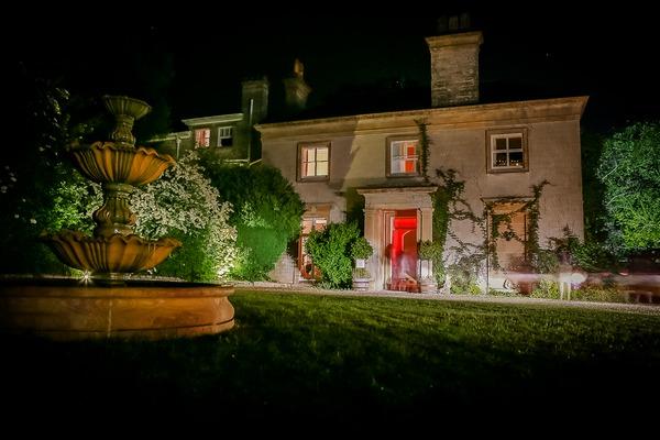 Sparkford Hall wedding venue at night