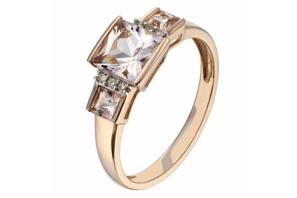 9ct Rose Gold Diamond and Morganite alternative engagement ring
